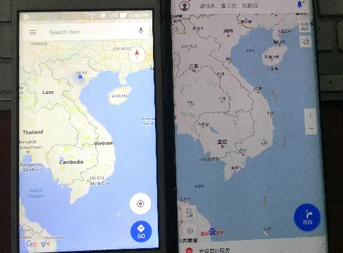 Khác với bản đồ Google Maps mặc định trên Android, bản đồ của một số smartphone xách tay từ Trung Quốc ở Việt Nam xuất hiện đường lưỡi bò phi pháp.