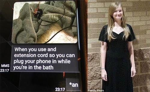 Tin nhắn cuối của cô bé tử vong vì dùng điện thoại khi tắm