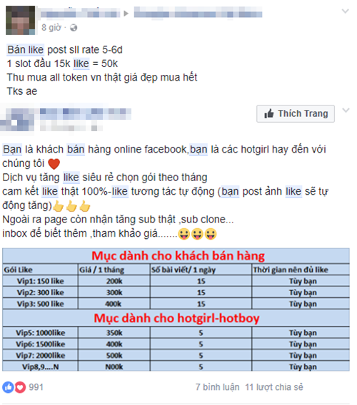 Người dùng Facebook bị lợi dụng để mua bán 'like'