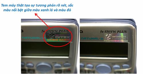 Tem giả bên phải hiệu ứng 3D mờ nhạt, không hiện được hai chữ Casio trên nền xanh lá.
