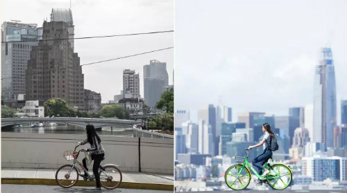 Bên trái là dịch vụ Mobike tại Thượng Hải, bên phải là dịch vụ LimeBike tại Mỹ.