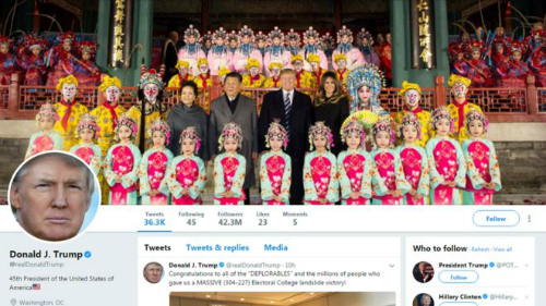 Ông Trump thay ảnh nền Twitter bằng hình chụp ở Cố Cung cùng chủ tịch Trung Quốc.