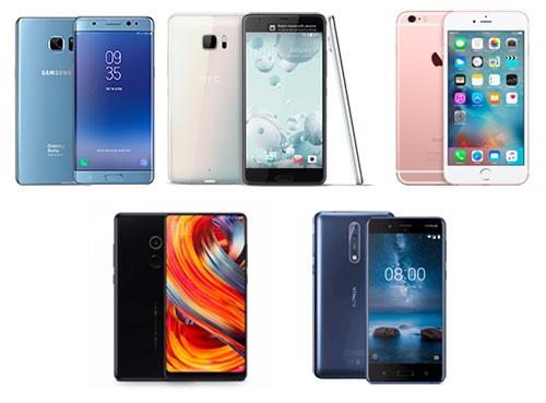Samsung Galaxy Note FE, HTC U Ultra, iPhone 6s Plus, Xiaomi Mi Mix 2 hay Nokia 8 là những smartphone cao cấp đáng chú ý trong tầm giá 13 đến 15 triệu đồng.