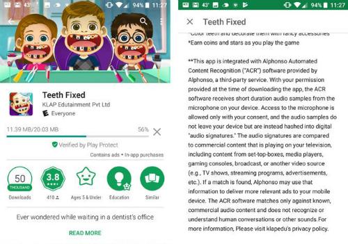 Một ảnh chụp màn hình Android của Teeth Fixed. Ứng dụng chơi game sử dụng phần mềm từ Alphonso, một công ty bắt đầu thu thập dữ liệu xem truyền hình cho nhà quảng cáo.