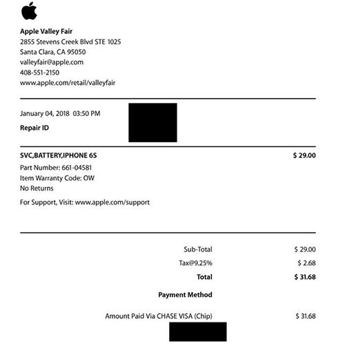 Hóa đơn mà tài khoản tenaper thanh toán cho Apple.