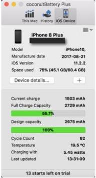 iPhone 8 Plus đạt 82 chu kỳ sạc sau gần 4 tháng.