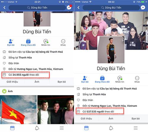 Facebook của thủ thành U23 Việt Nam có lượt theo dõi tăng chóng mặt.
