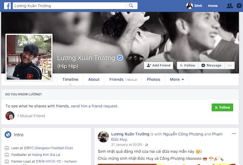 Tài khoản Facebook của đội trưởng U23 Việt Nam đã được Facebook xác thưc.