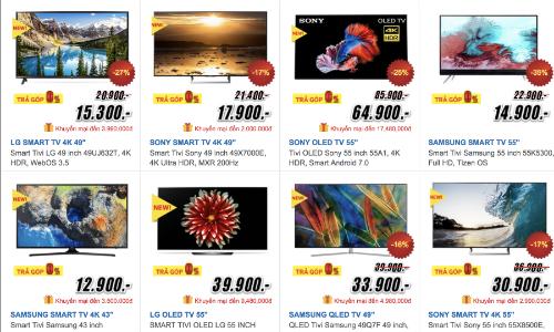 Giá bán hầu hết các dòng TV trong dịp mua sắm trước Tết đều được giảm, chạy khuyến mại.
