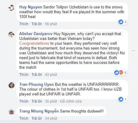 Bình luận của người Việt trên fanpage chính thức của AFC.