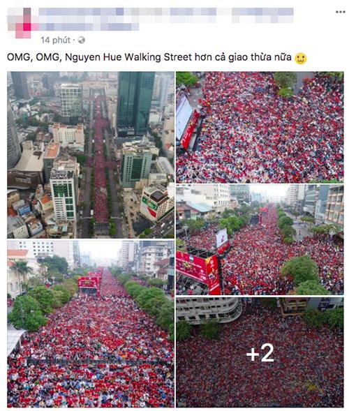 Cũng trên Facebook, những hình ảnh dòng người đổ về trung tâm, nơi có màn hình lớn chiếu trực tiếp trận đấu cũng được chia sẻ rầm rộ.