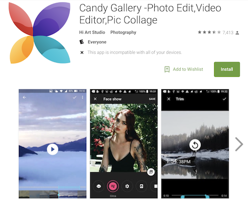 Candy Gallery được Alcatel thay thế cho ứng dụng xem ảnh mặc định.