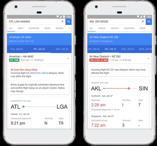 Google Flights đưa ra dự báo nếu chuyến bay bị trễ.