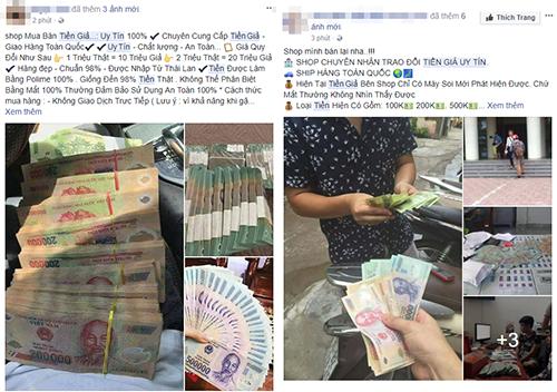 Tiền giả cũng được mua bán công khai trên mạng xã hội.