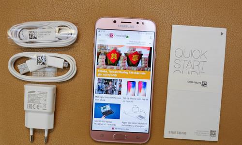 Mở hộp Samsung Galaxy J7 Pro phiên bản màu hồng