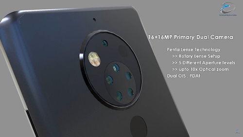 Hình dung về điện thoại Nokia 10 với 5 ống kính phía sau