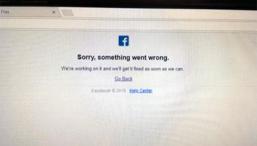 Thông báo lỗi khi truy cập Facebook.
