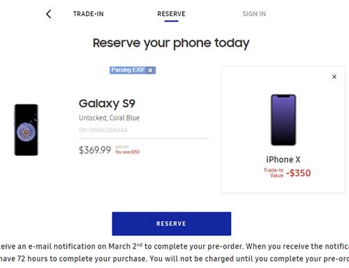 Giá thu mua iPhone X là 350 USD khi người sở hữu muốn đổi sang Galaxy S9.