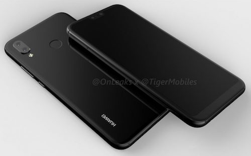 Điện thoại Huawei rò rỉ với màn hình tai thỏ, camera kép.