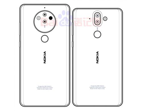 Hình phác thảo Nokia 9 (trái) và Nokia 8 Pro.