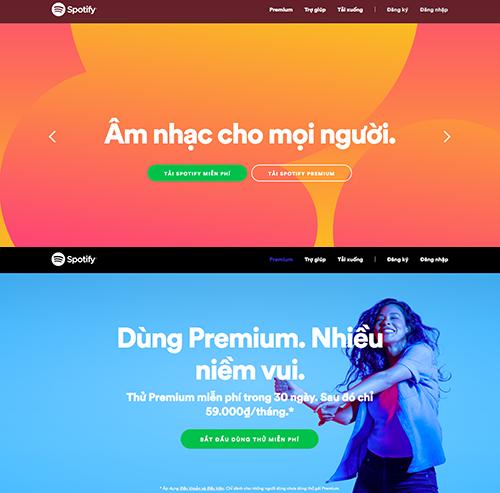 Để tải về, người dùng truy cập vào trang chủ của Spotify. Tại đây, có hai phiên bản cho người dùng, gồm bản Premium (cao cấp, dùng thử 30 ngày miễn phí, sau đó tính phí 59.000 đồng mỗi tháng) và Free (miễn phí).