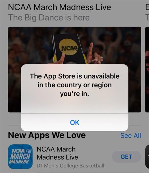 Thông báo của App Store khi truy cập tại Iran.