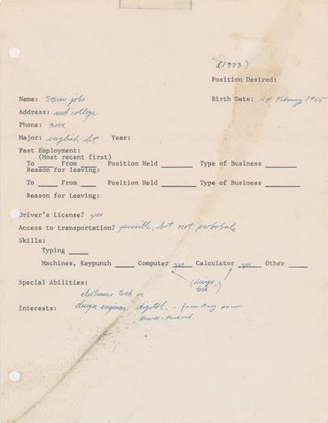 Đơn xin việc của Steve Jobs năm 1973 có giá hơn 174.000 USD
