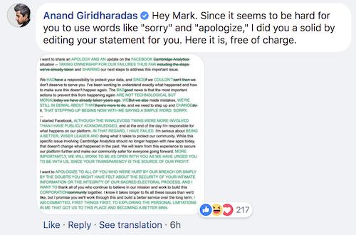 Mark Zuckerberg 'nợ' người dùng một lời xin lỗi