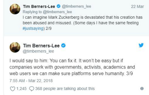 Cha đẻ World Wide Web an ủi Mark Zuckerberg
