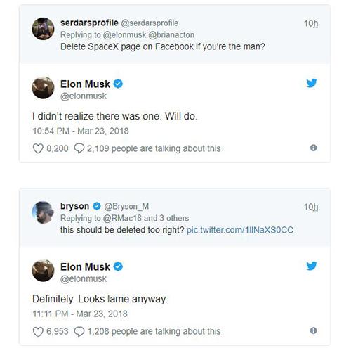 Elon Musk thẳng tay xóa tài khoản Facebook Tesla và SpaceX