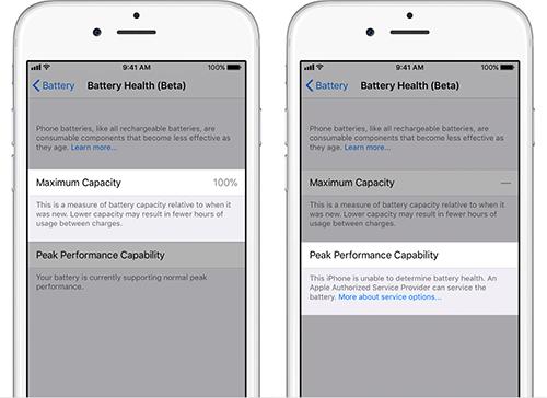 Thông báo khi pin iPhone tốt (trái) và viên pin không rõ nguồn gốc (phải).