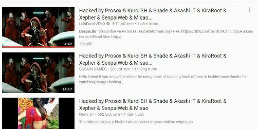 Nhiều video khác đã nhanh chóng đổi tên theo video bị hack để lấy lượng truy cập.