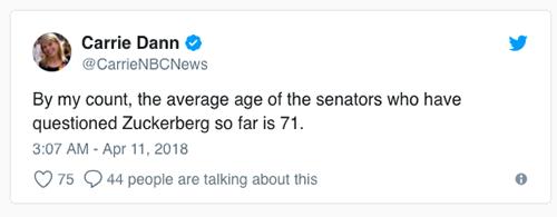 [Theo tính toán của tôi, độ tuổi trung bình của các thượng nghị sĩ đã đặt câu hỏi cho Zuckerberg là 71 tuổi.