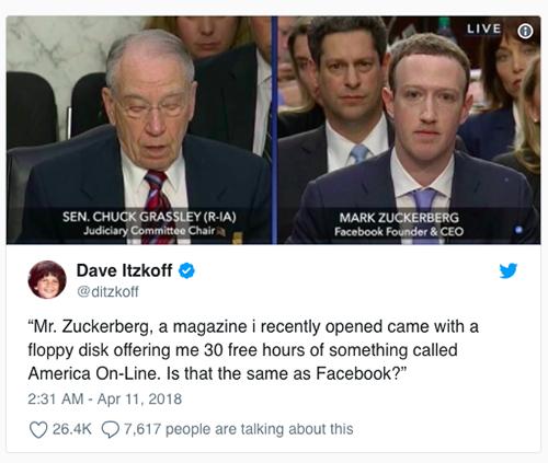 Ông Zuckerberg, một tạp chí mà tôi vừa mới mở, đi kèm vớiđĩa mềm cung cấp cho tôi 30 giờ miễn phí của một cái gì đó gọi là America On-Line. Nó có giống với Facebook không?.