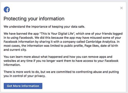 Thông báo về dữ liệu người dùng bị ảnh hưởng hay chưa trên di động (ảnh trên) và trên nền web (ảnh dưới).