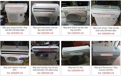 Nhiều mẫu điều hòa Nhật bãi có giá từ 5 triệu đến 7,5 triệu được rao bán trên mạng.