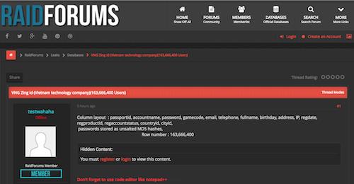 Thông tin về hơn 163 triệu tài khoản Zing ID được chia sẻ trên Raidforums.