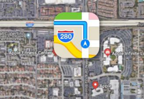 Biểu tượng Maps là vị trí thật của trụ sở Apple.