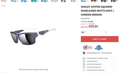 Một trường hợp bán kính mắt rẻ hơn nhiều so với giá thực trên Google Shopping bị khóa vì có hành vilừa đảo.