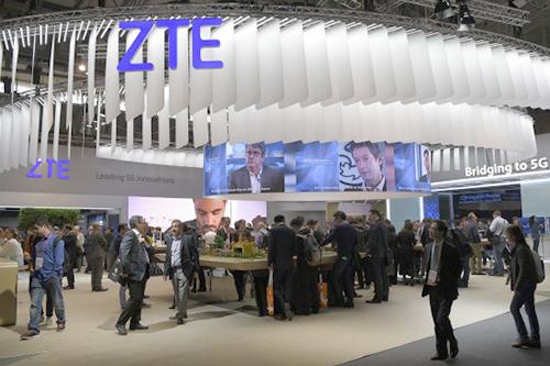 Gian trưng bày của ZTE tại một triển lãm công nghệ.