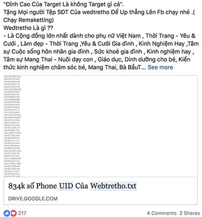 Dữ liệu được cho là hơn 800.000 số điện thoại của các thành viên fanpage Webtretho được chia sẻ trên Facebook.