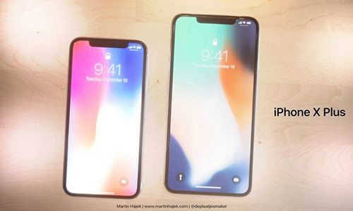 Concept iPhone X Plus đặt cạnh iPhone X.
