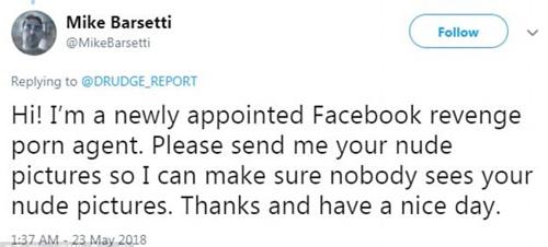 Xin chào, tôi là chuyên gia chống phát tán ảnh nóng mới được chỉ định của Facebook. Hay gửi ảnh khỏa thân của bạn cho tôi để tôi có thể đảm bảo không ai xem được ảnh của bạn. Ảnh: DailyMail