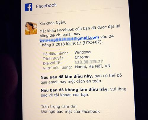 Khả Ngân nhận được thông báo Facebook được đặt lại mật khẩu.
