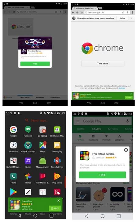 Smartphone bị nhiễm Cosiloon sẽ tự hiển thị quảng cáo trên màn hình.