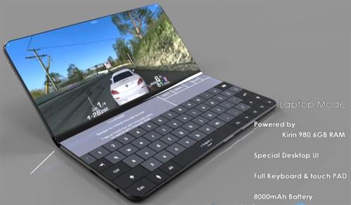 Ý tưởng điện thoại Mate X với chế độ laptop.