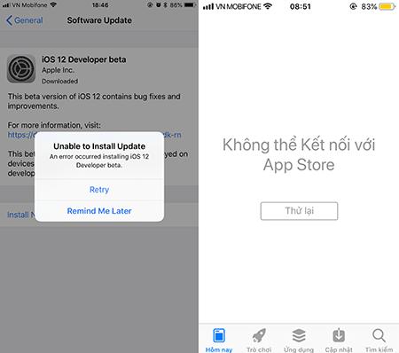 Người dùng cho biết không truy cập được App Store với iOS 12 Developer beta.