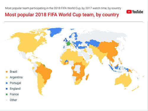 Việt Nam nằm trong số các quốc gia xem video về các cầu thủ Brazil nhiều nhất.
