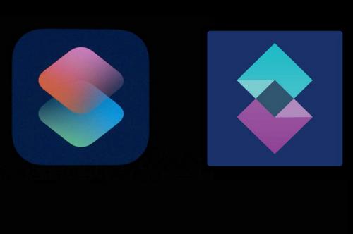 Logo Shortcuts của Apple (bên trái) và logo của Shift (bên phải).