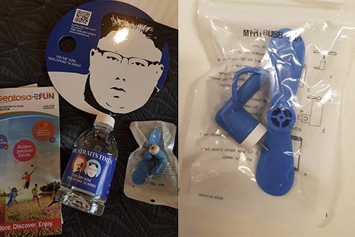 Chiếc quạt mini (bên phải) và những vật dụng được phát cho các phóng viên tại Hội nghị Thượng đỉnh Mỹ - Triều.